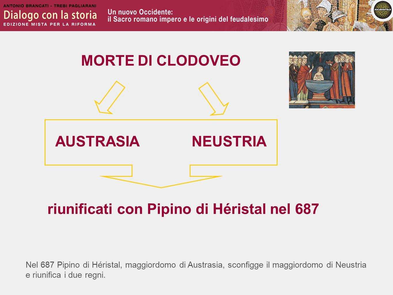 Nel 687 Pipino di Héristal, maggiordomo di Austrasia, sconfigge il maggiordomo di Neustria e riunifica i due regni. MORTE DI CLODOVEO AUSTRASIANEUSTRI