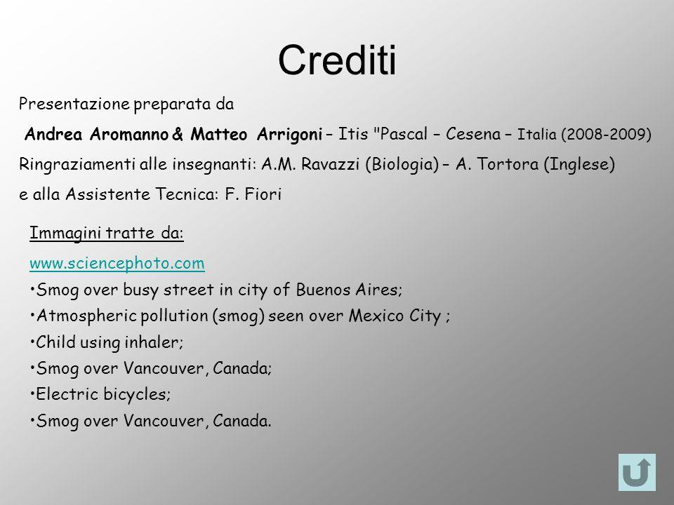 Crediti Presentazione preparata da Andrea Aromanno & Matteo Arrigoni – Itis Pascal – Cesena – Italia (2008-2009) Ringraziamenti alle insegnanti: A.M.