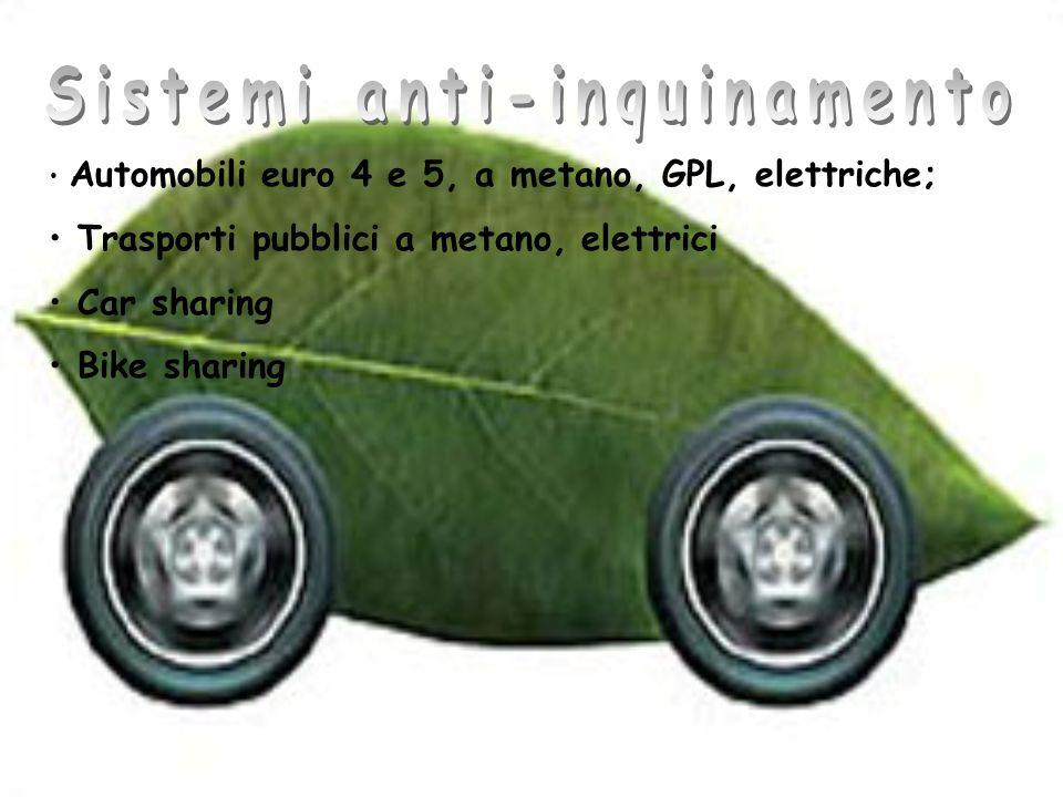 Automobili euro 4 e 5, a metano, GPL, elettriche; Trasporti pubblici a metano, elettrici Car sharing Bike sharing