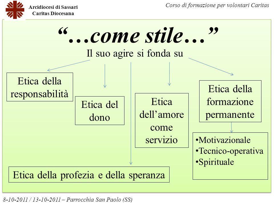 …come stile… Arcidiocesi di Sassari Caritas Diocesana 8-10-2011 / 13-10-2011 – Parrocchia San Paolo (SS ) Corso di formazione per volontari Caritas Et