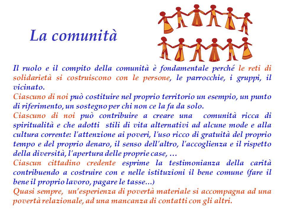 Il ruolo e il compito della comunità è fondamentale perché le reti di solidarietà si costruiscono con le persone, le parrocchie, i gruppi, il vicinato.