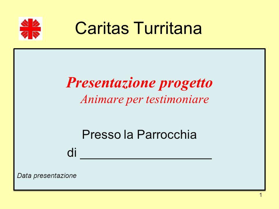 Caritas Turritana Presentazione progetto Animare per testimoniare Presso la Parrocchia di ___________________ Data presentazione Presentazione progett