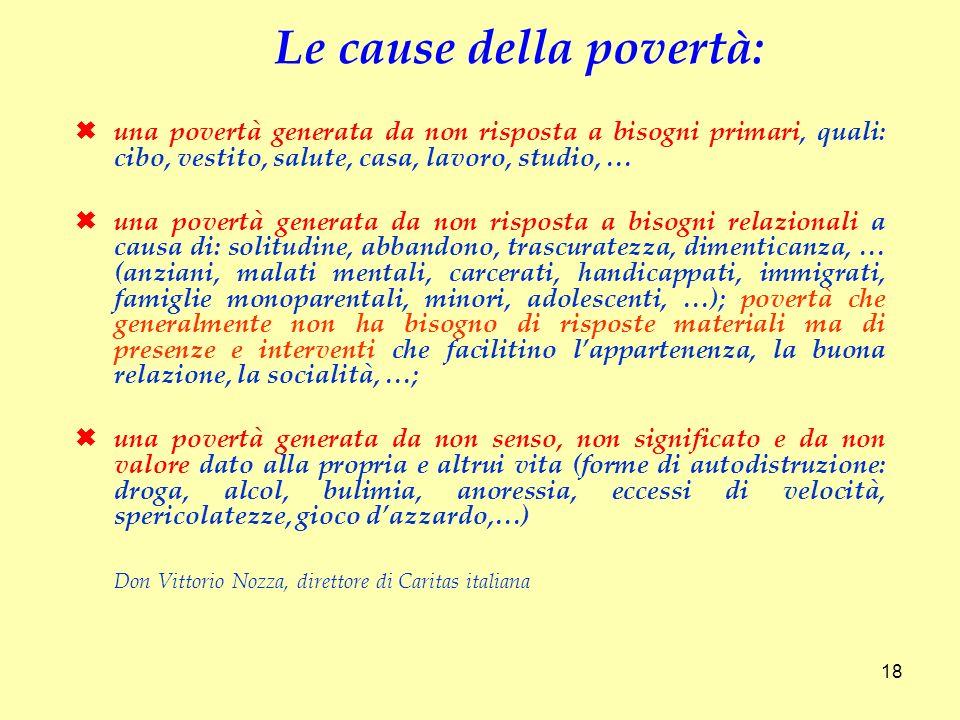 una povertà generata da non risposta a bisogni primari, quali: cibo, vestito, salute, casa, lavoro, studio, … una povertà generata da non risposta a b