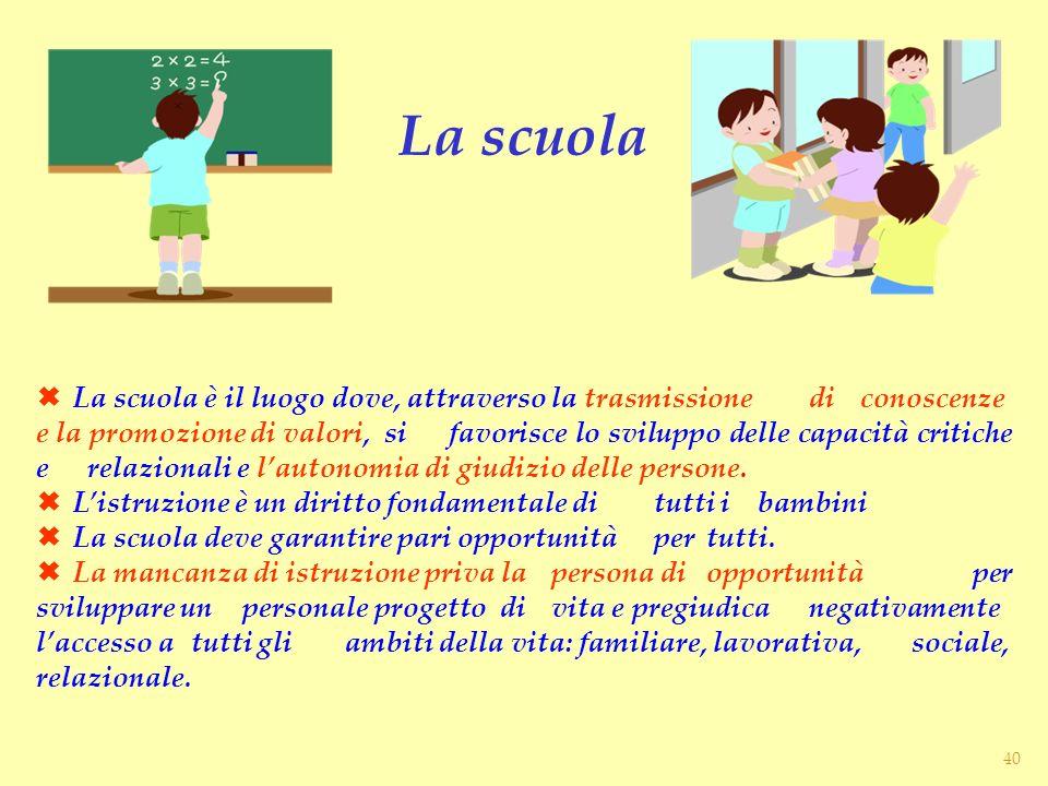 La scuola è il luogo dove, attraverso la trasmissione di conoscenze e la promozione di valori, si favorisce lo sviluppo delle capacità critiche e rela