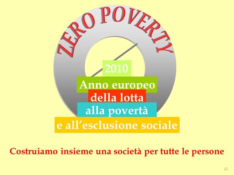 2010 Anno europeo della lotta alla povertà e allesclusione sociale Costruiamo insieme una società per tutte le persone 43
