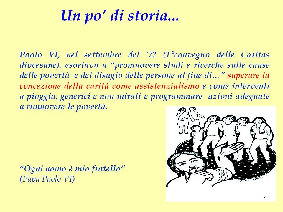 Paolo VI, nel settembre del 72 (1°convegno delle Caritas diocesane), esortava a promuovere studi e ricerche sulle cause delle povertà e del disagio de