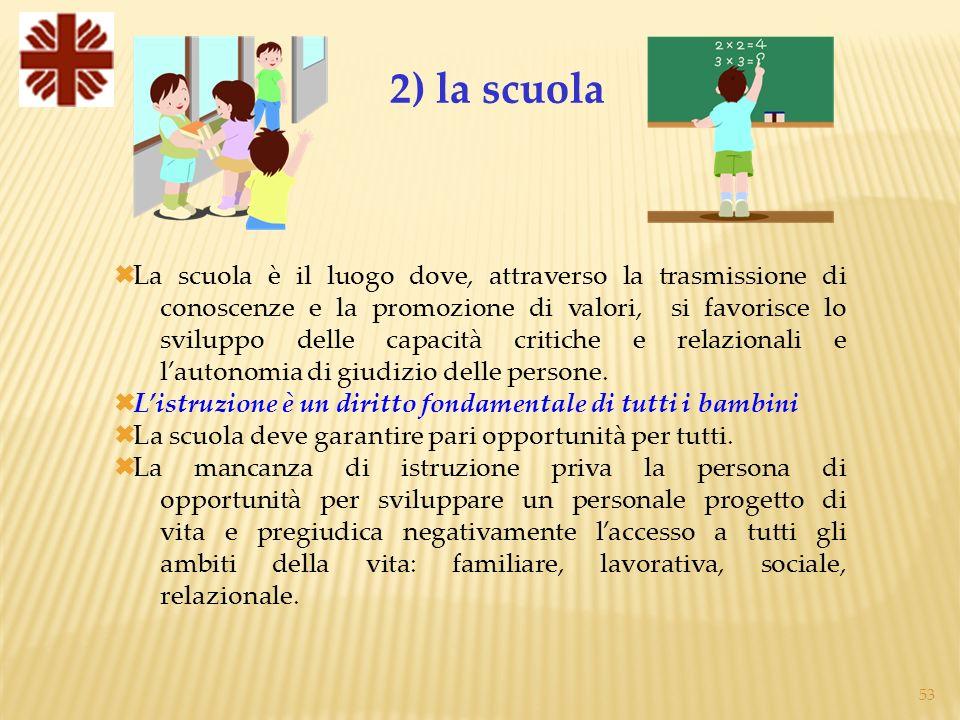 53 La scuola è il luogo dove, attraverso la trasmissione di conoscenze e la promozione di valori, si favorisce lo sviluppo delle capacità critiche e relazionali e lautonomia di giudizio delle persone.