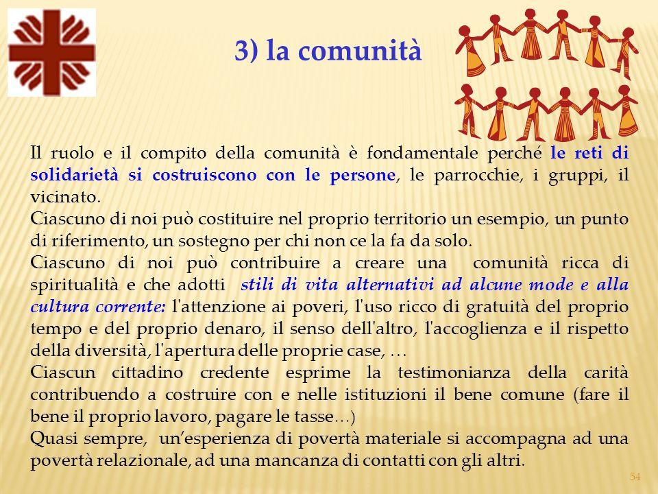 54 Il ruolo e il compito della comunità è fondamentale perché le reti di solidarietà si costruiscono con le persone, le parrocchie, i gruppi, il vicinato.