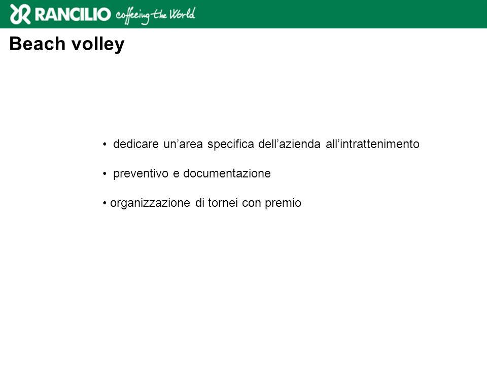 Beach volley dedicare unarea specifica dellazienda allintrattenimento preventivo e documentazione organizzazione di tornei con premio