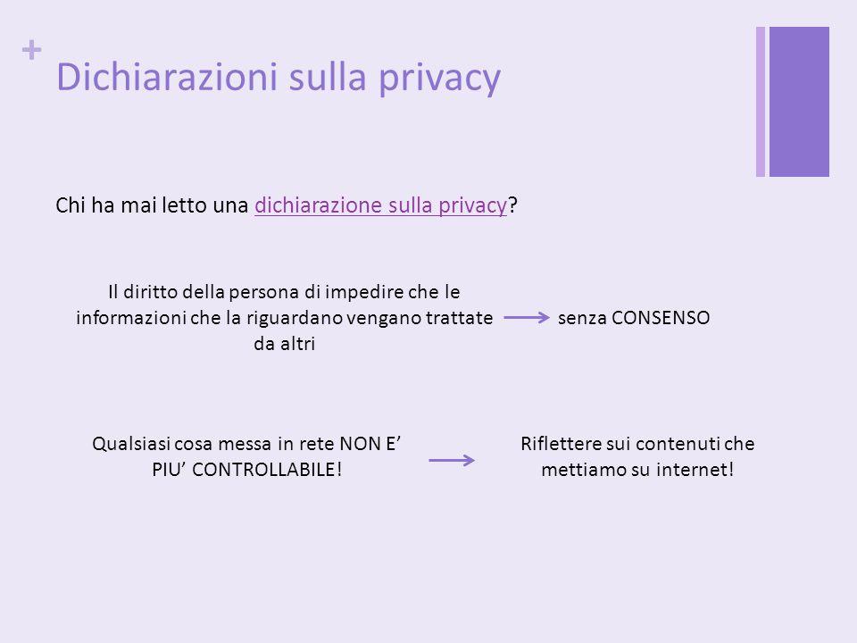 + Dichiarazioni sulla privacy Chi ha mai letto una dichiarazione sulla privacy? Il diritto della persona di impedire che le informazioni che la riguar