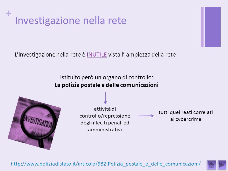 + Investigazione nella rete Linvestigazione nella rete è INUTILE vista l ampiezza della rete Istituito però un organo di controllo: La polizia postale