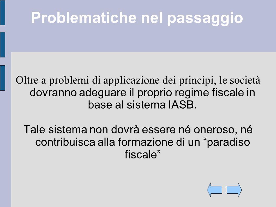 Problematiche nel passaggio Oltre a problemi di applicazione dei principi, le società dovranno adeguare il proprio regime fiscale in base al sistema IASB.