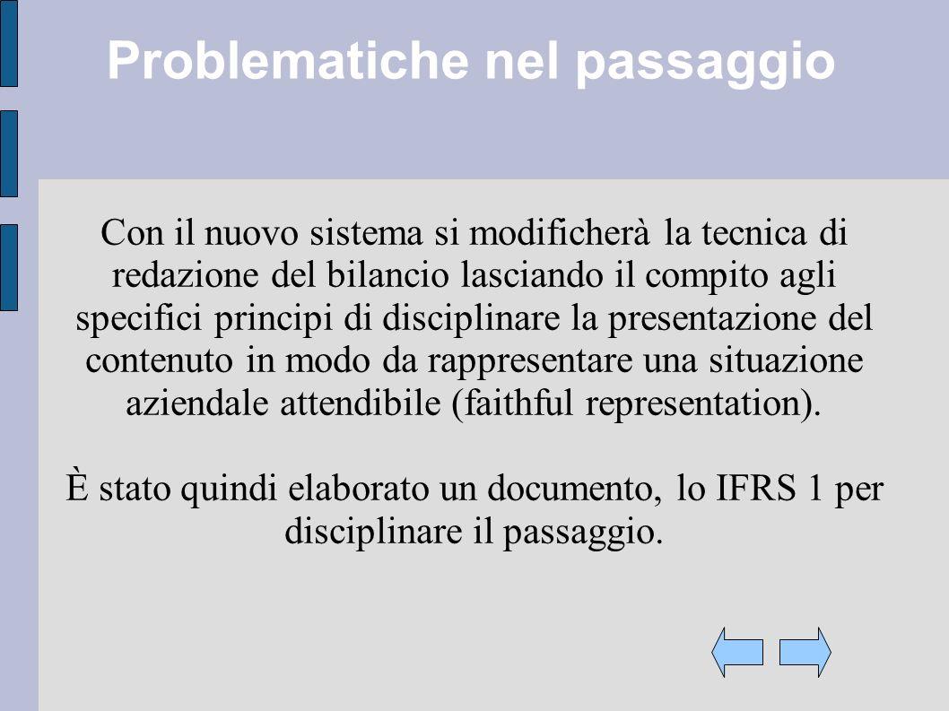 Problematiche nel passaggio Con il nuovo sistema si modificherà la tecnica di redazione del bilancio lasciando il compito agli specifici principi di d