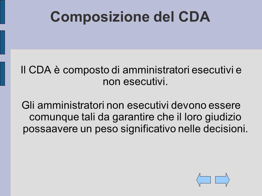 Composizione del CDA Il CDA è composto di amministratori esecutivi e non esecutivi. Gli amministratori non esecutivi devono essere comunque tali da ga