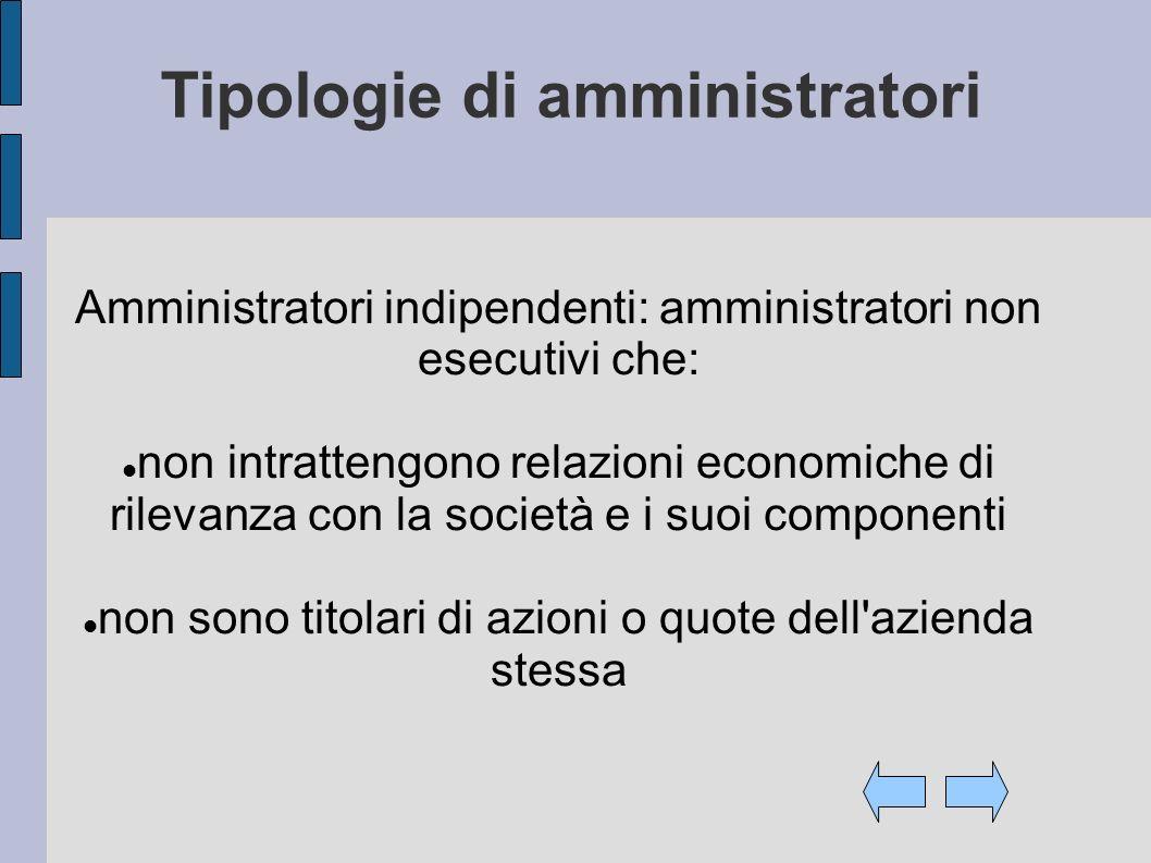 Tipologie di amministratori Amministratori indipendenti: amministratori non esecutivi che: non intrattengono relazioni economiche di rilevanza con la