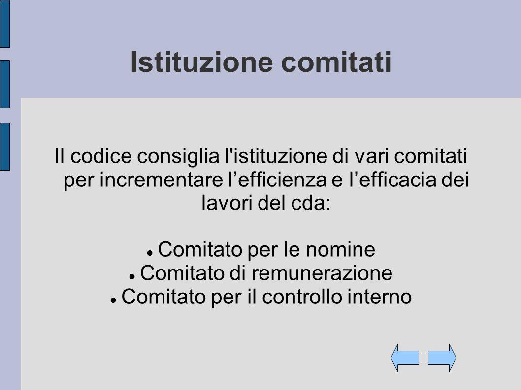 Istituzione comitati Il codice consiglia l'istituzione di vari comitati per incrementare lefficienza e lefficacia dei lavori del cda: Comitato per le
