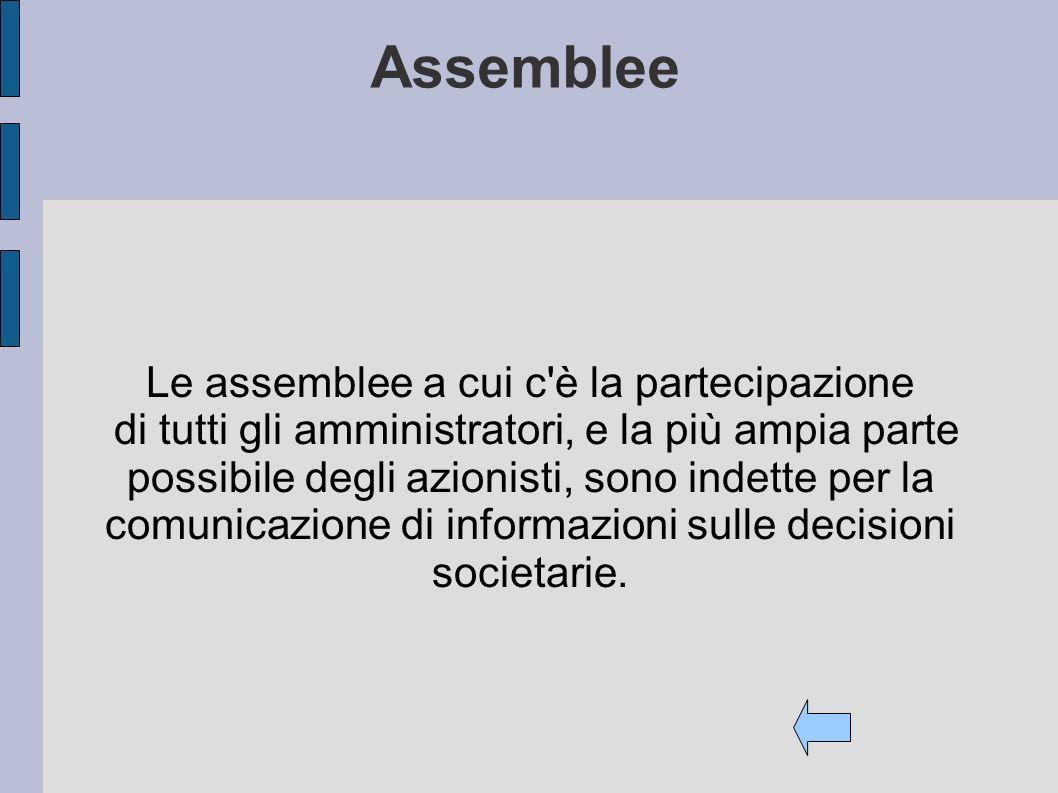Assemblee Le assemblee a cui c'è la partecipazione di tutti gli amministratori, e la più ampia parte possibile degli azionisti, sono indette per la co