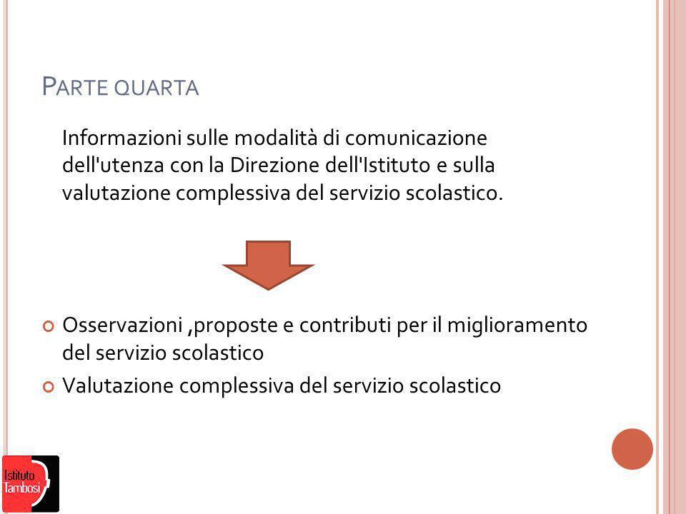 P ARTE QUARTA Informazioni sulle modalità di comunicazione dell utenza con la Direzione dell Istituto e sulla valutazione complessiva del servizio scolastico.