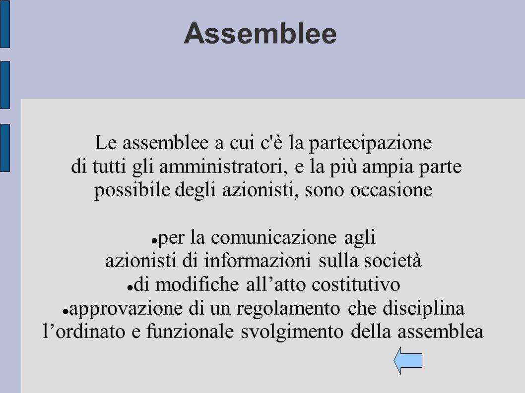 Assemblee Le assemblee a cui c'è la partecipazione di tutti gli amministratori, e la più ampia parte possibile degli azionisti, sono occasione per la
