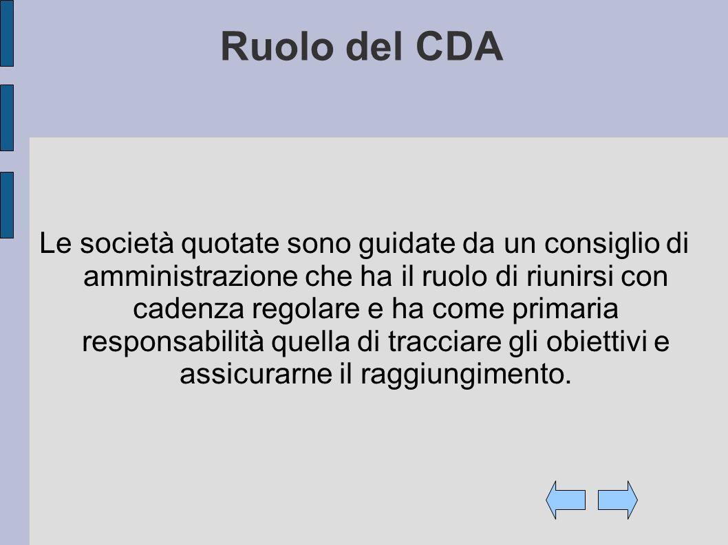 Ruolo del CDA Le società quotate sono guidate da un consiglio di amministrazione che ha il ruolo di riunirsi con cadenza regolare e ha come primaria responsabilità quella di tracciare gli obiettivi e assicurarne il raggiungimento.