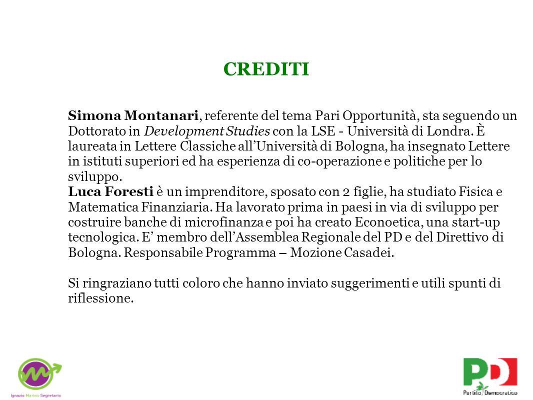 CREDITI Simona Montanari, referente del tema Pari Opportunità, sta seguendo un Dottorato in Development Studies con la LSE - Università di Londra. È l