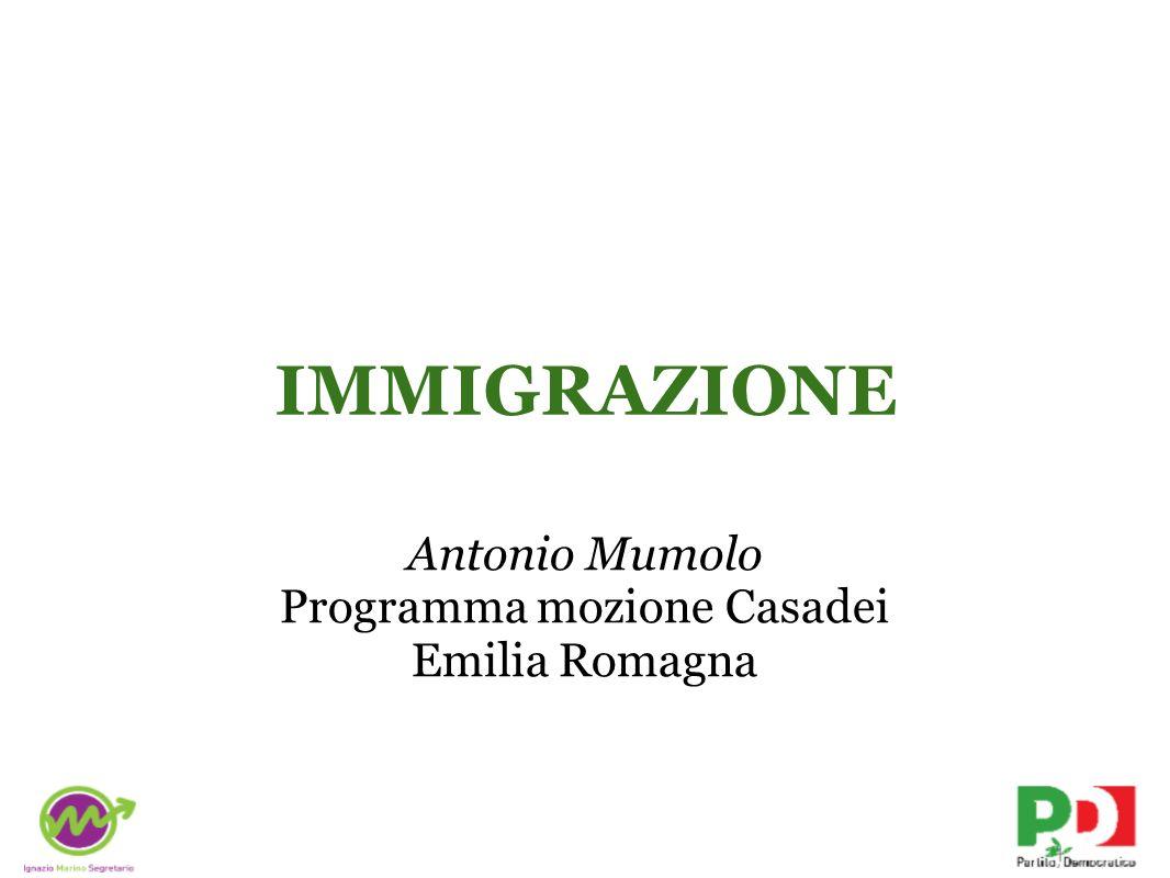 IMMIGRAZIONE Antonio Mumolo Programma mozione Casadei Emilia Romagna