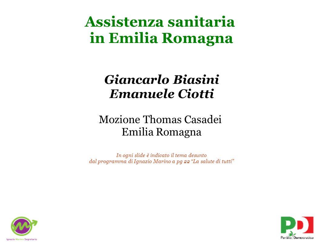 Assistenza sanitaria in Emilia Romagna Giancarlo Biasini Emanuele Ciotti Mozione Thomas Casadei Emilia Romagna In ogni slide è indicato il tema desunt