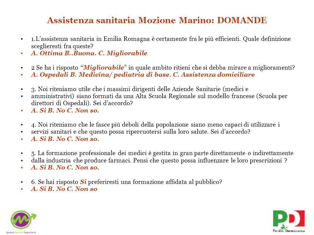 Assistenza sanitaria Mozione Marino: DOMANDE 1.Lassistenza sanitaria in Emilia Romagna è certamente fra le più efficienti. Quale definizione scegliere