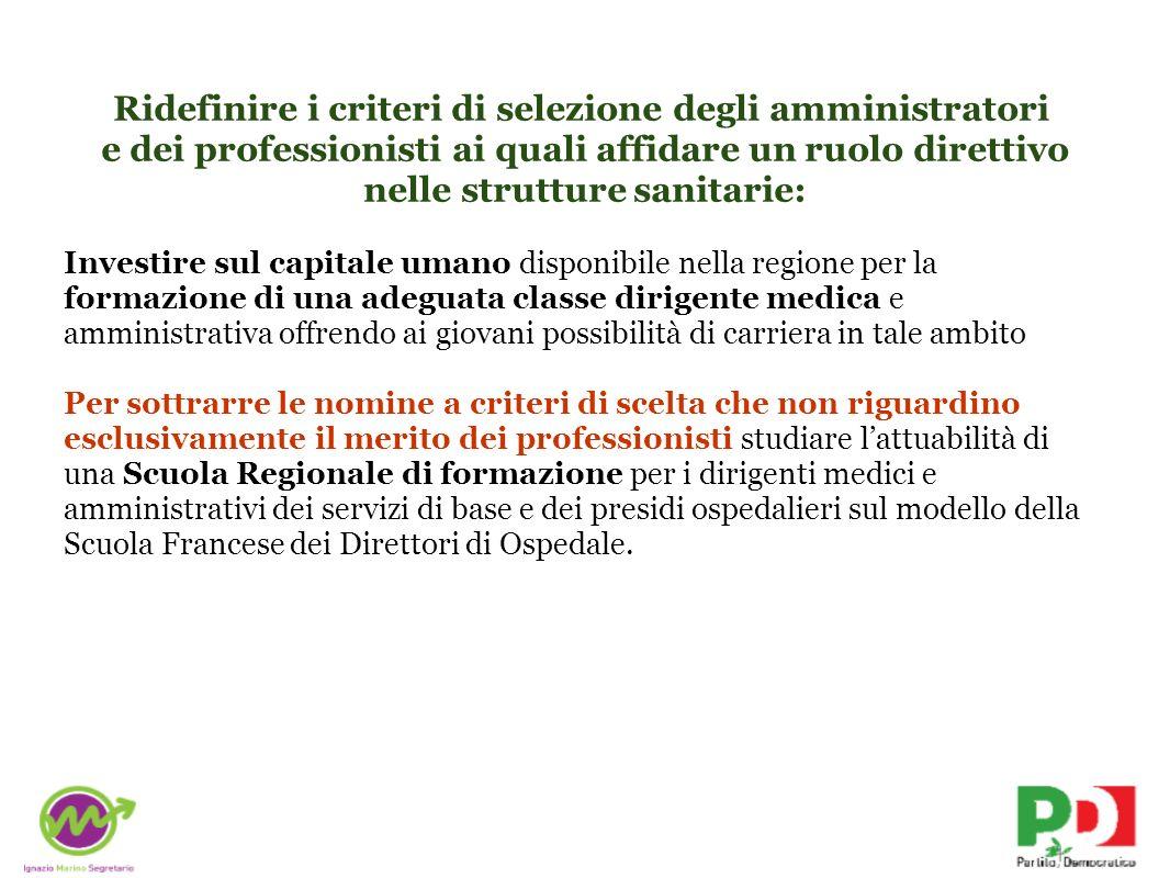Ridefinire i criteri di selezione degli amministratori e dei professionisti ai quali affidare un ruolo direttivo nelle strutture sanitarie: Investire