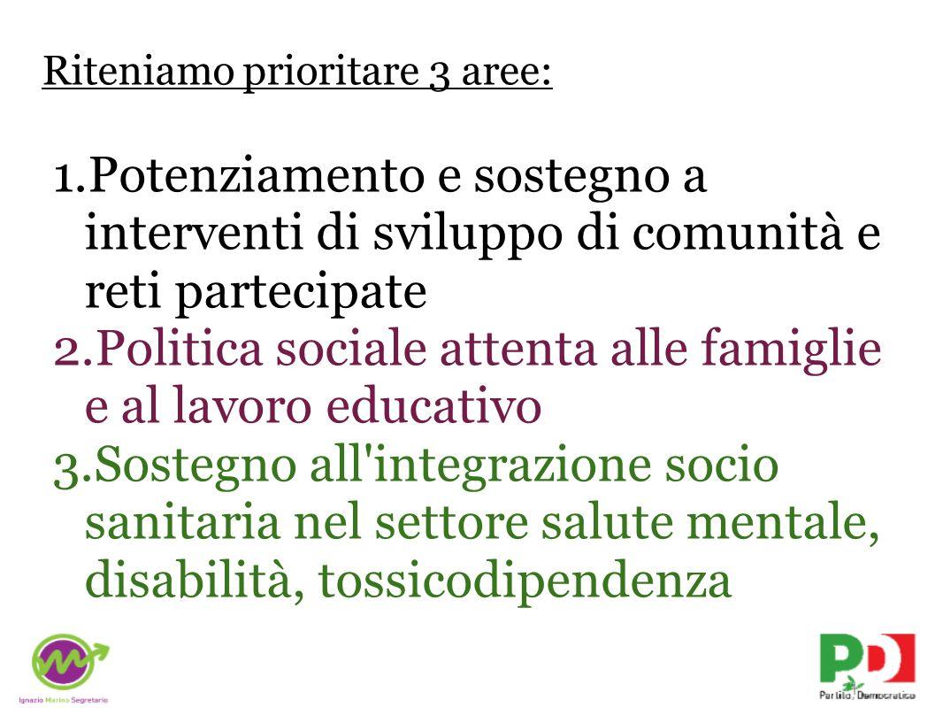 Riteniamo prioritare 3 aree: 1.Potenziamento e sostegno a interventi di sviluppo di comunità e reti partecipate 2.Politica sociale attenta alle famiglie e al lavoro educativo 3.Sostegno all integrazione socio sanitaria nel settore salute mentale, disabilità, tossicodipendenza