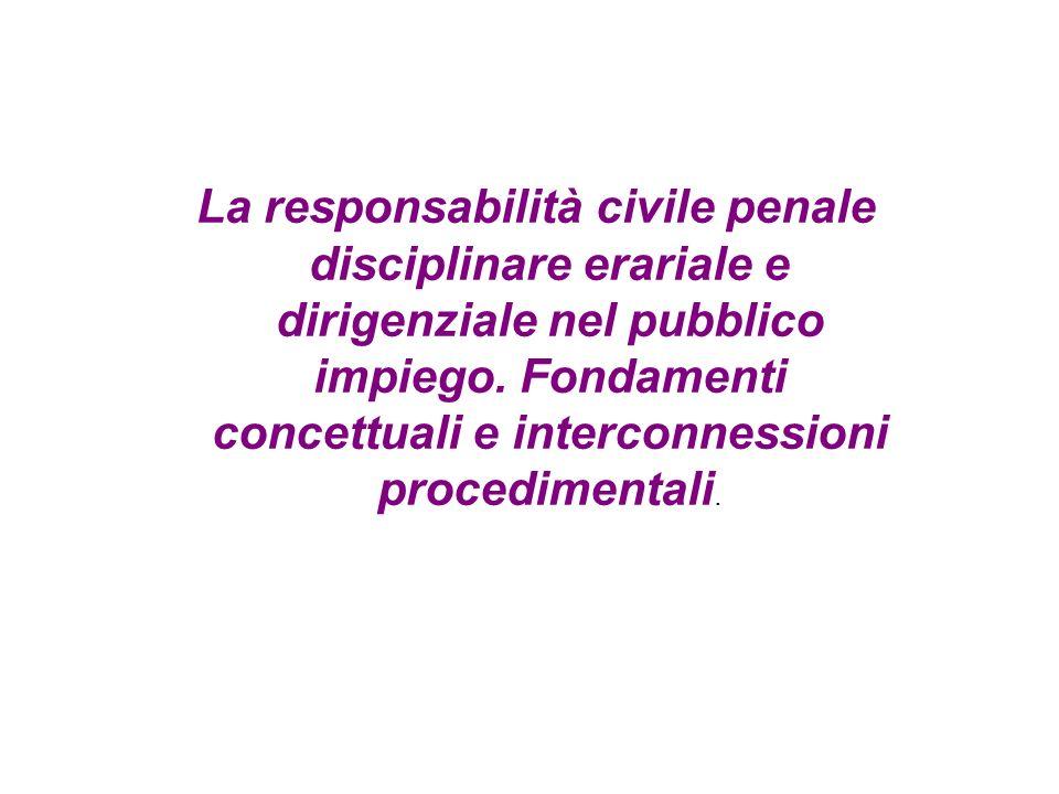 La responsabilità civile penale disciplinare erariale e dirigenziale nel pubblico impiego. Fondamenti concettuali e interconnessioni procedimentali.