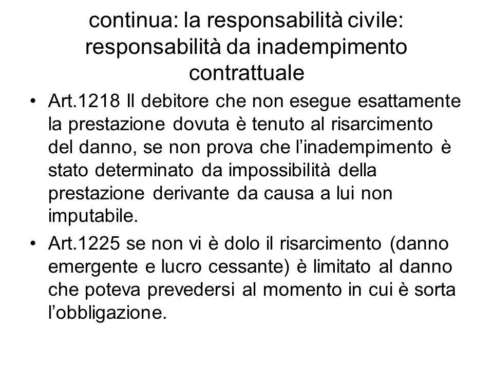 continua: la responsabilità civile: responsabilità da inadempimento contrattuale Art.1218 Il debitore che non esegue esattamente la prestazione dovuta