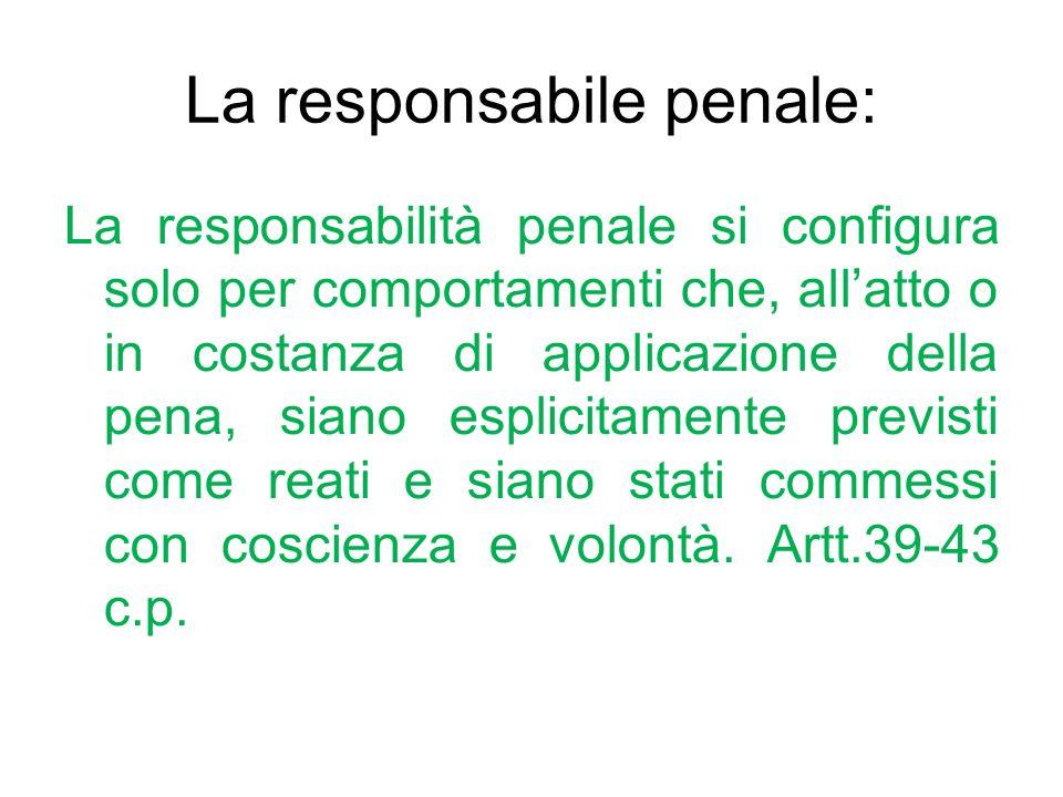 La responsabile penale: La responsabilità penale si configura solo per comportamenti che, allatto o in costanza di applicazione della pena, siano espl