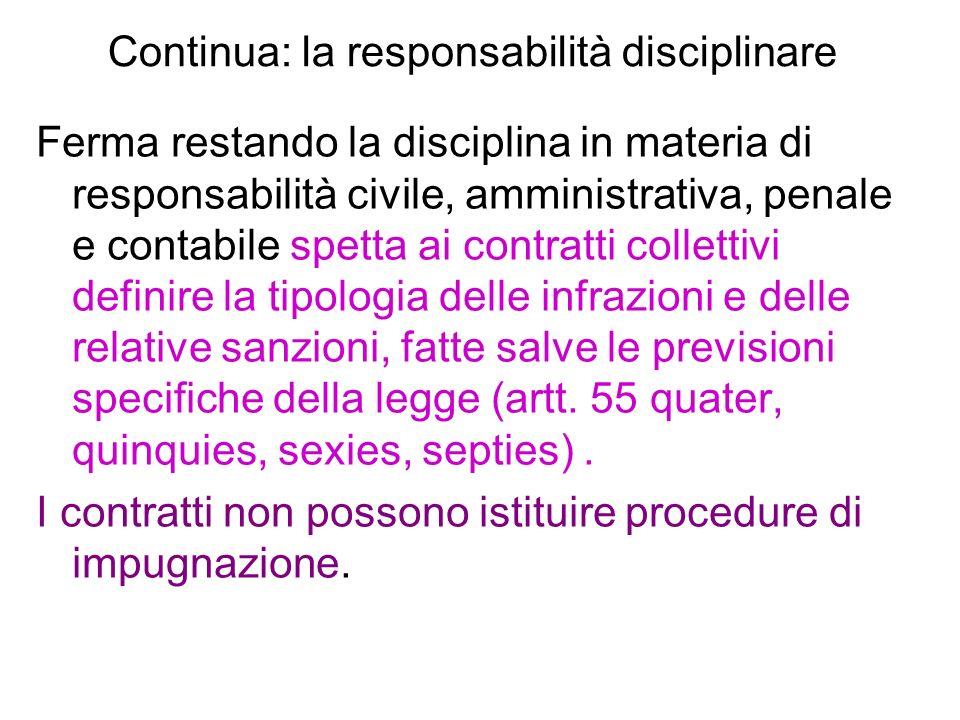 Continua: la responsabilità disciplinare Ferma restando la disciplina in materia di responsabilità civile, amministrativa, penale e contabile spetta a