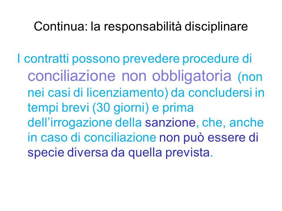 Continua: la responsabilità disciplinare I contratti possono prevedere procedure di conciliazione non obbligatoria (non nei casi di licenziamento) da