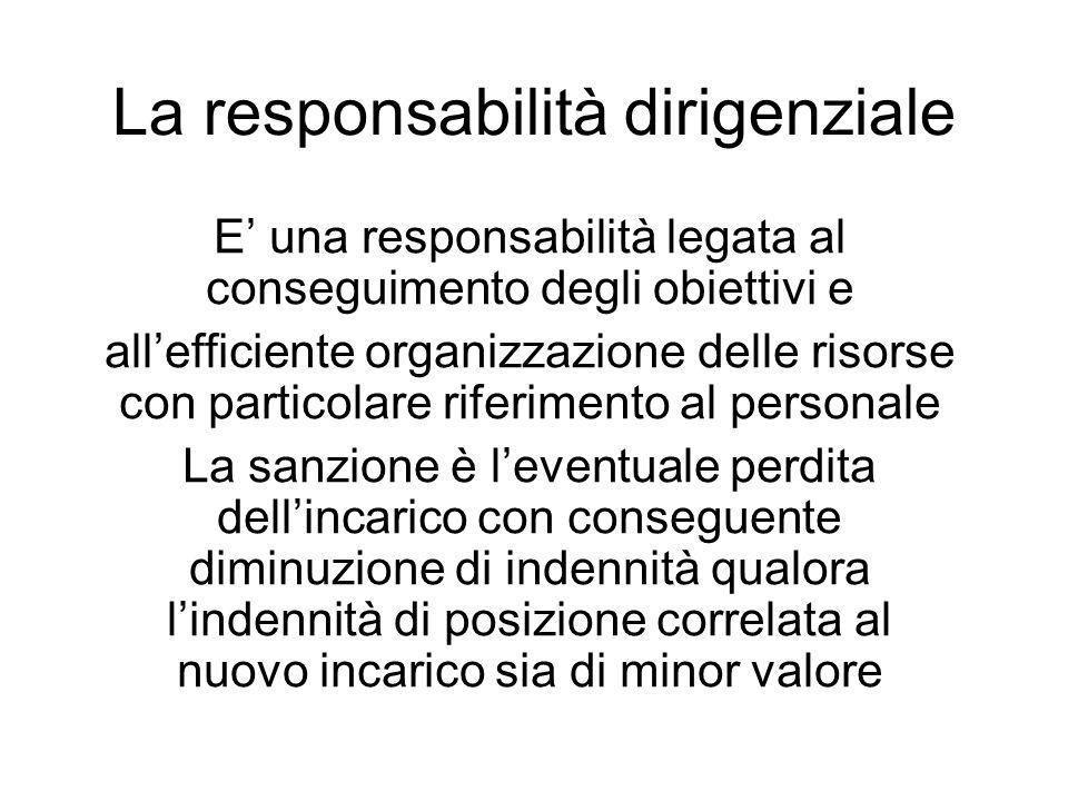 La responsabilità dirigenziale E una responsabilità legata al conseguimento degli obiettivi e allefficiente organizzazione delle risorse con particola
