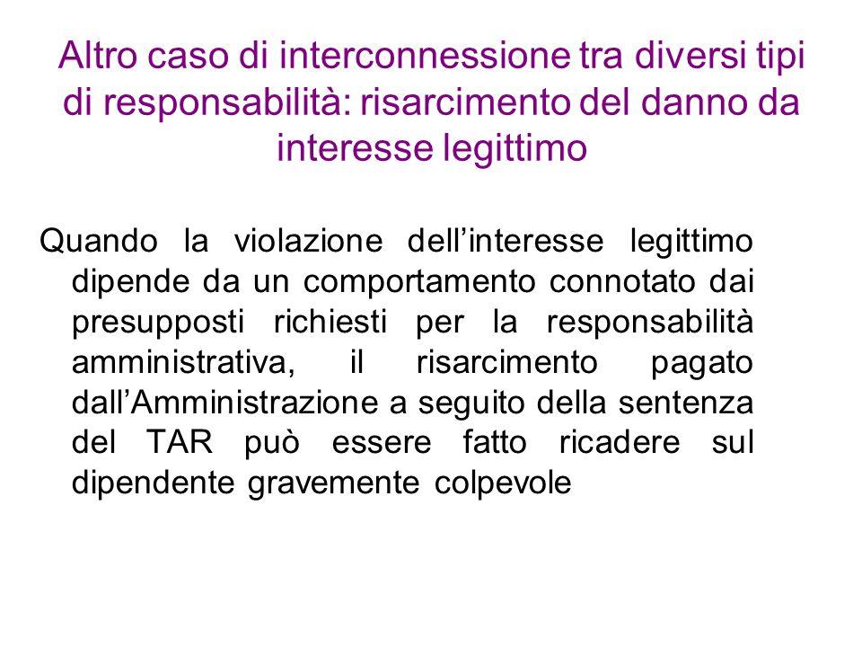 Altro caso di interconnessione tra diversi tipi di responsabilità: risarcimento del danno da interesse legittimo Quando la violazione dellinteresse le