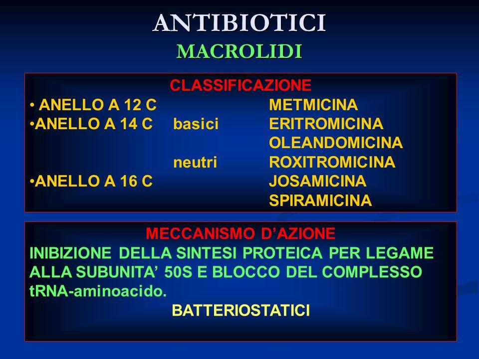 ANTIBIOTICI MACROLIDI CLASSIFICAZIONE ANELLO A 12 CMETMICINA ANELLO A 14 CbasiciERITROMICINA OLEANDOMICINA neutriROXITROMICINA ANELLO A 16 CJOSAMICINA