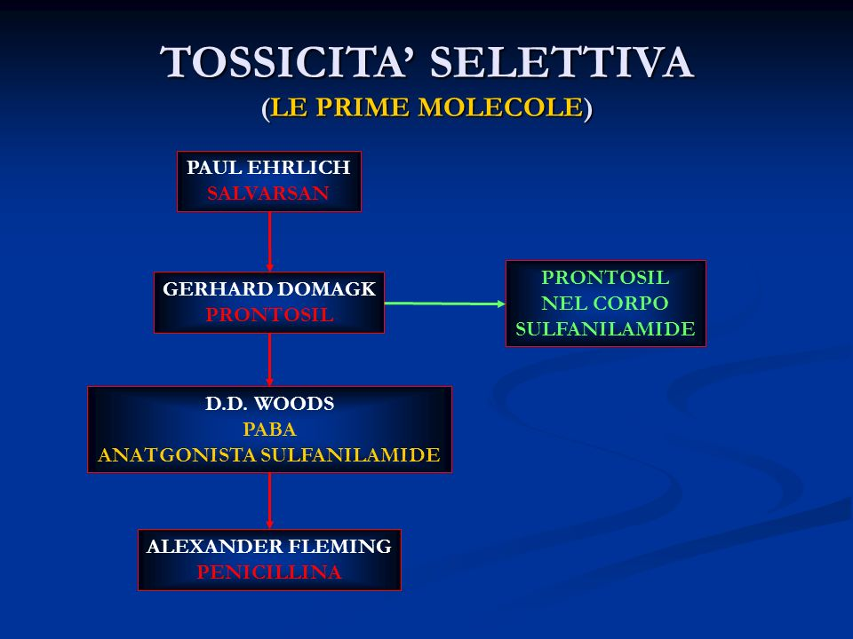 TOSSICITA SELETTIVA (LE PRIME MOLECOLE) PAUL EHRLICH SALVARSAN GERHARD DOMAGK PRONTOSIL NEL CORPO SULFANILAMIDE D.D. WOODS PABA ANATGONISTA SULFANILAM