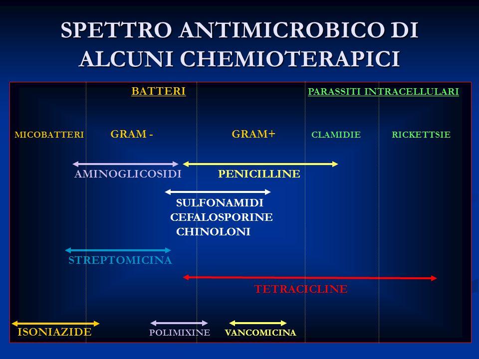 SPETTRO ANTIMICROBICO DI ALCUNI CHEMIOTERAPICI BATTERI PARASSITI INTRACELLULARI MICOBATTERI GRAM - GRAM+ CLAMIDIE RICKETTSIE AMINOGLICOSIDI PENICILLIN
