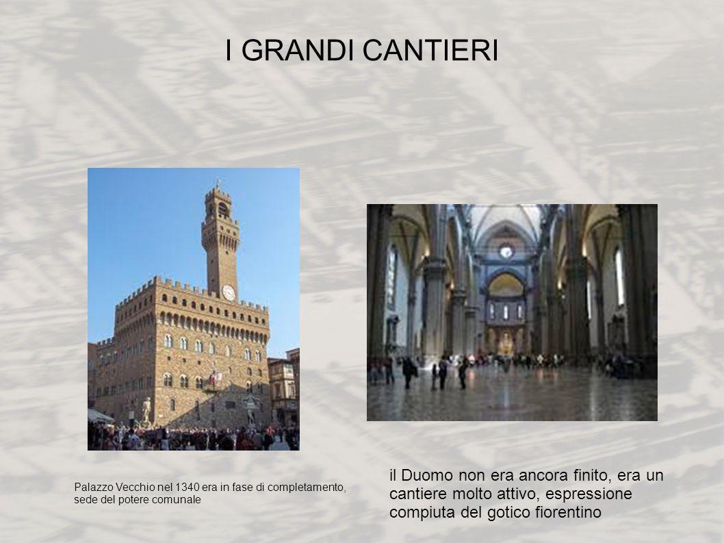 I GRANDI CANTIERI Palazzo Vecchio nel 1340 era in fase di completamento, sede del potere comunale il Duomo non era ancora finito, era un cantiere molt