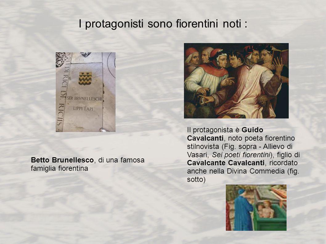 I protagonisti sono fiorentini noti : Betto Brunellesco, di una famosa famiglia fiorentina Il protagonista è Guido Cavalcanti, noto poeta fiorentino s