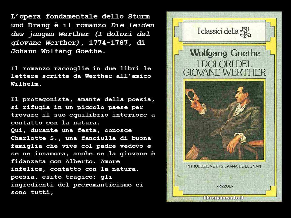 Lopera fondamentale dello Sturm und Drang è il romanzo Die leiden des jungen Werther (I dolori del giovane Werther), 1774-1787, di Johann Wolfang Goet