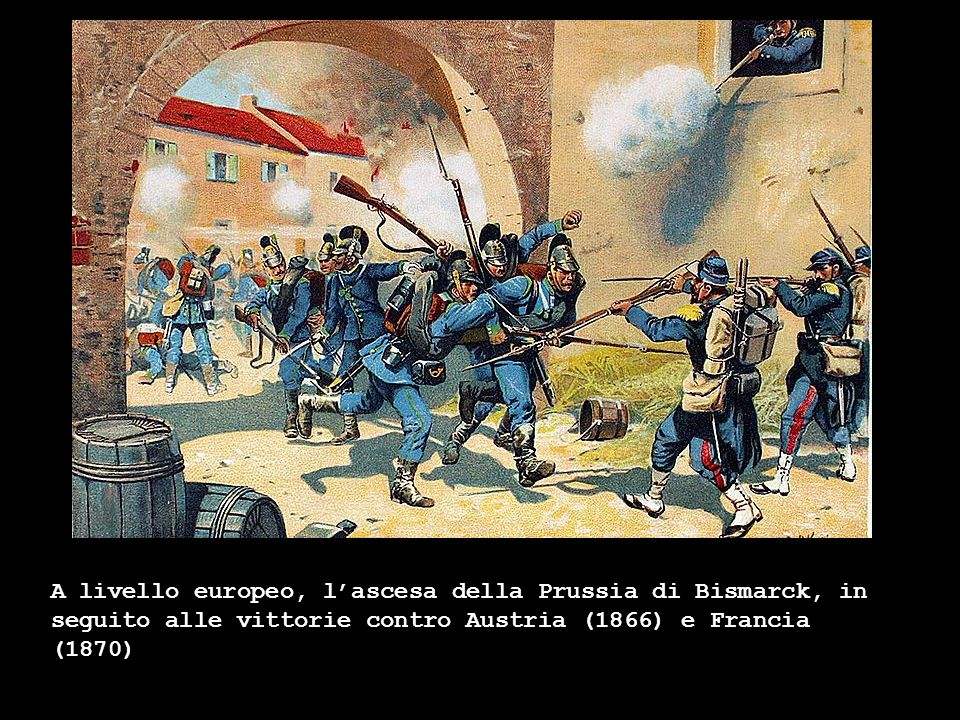 A livello europeo, lascesa della Prussia di Bismarck, in seguito alle vittorie contro Austria (1866) e Francia (1870)