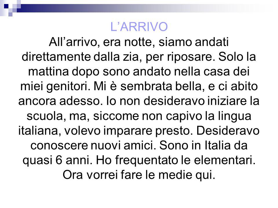 LARRIVO Allarrivo, era notte, siamo andati direttamente dalla zia, per riposare. Solo la mattina dopo sono andato nella casa dei miei genitori. Mi è s