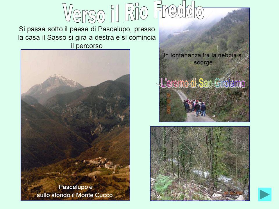 Si passa sotto il paese di Pascelupo, presso la casa il Sasso si gira a destra e si comincia il percorso Pascelupo e sullo sfondo il Monte Cucco In lo
