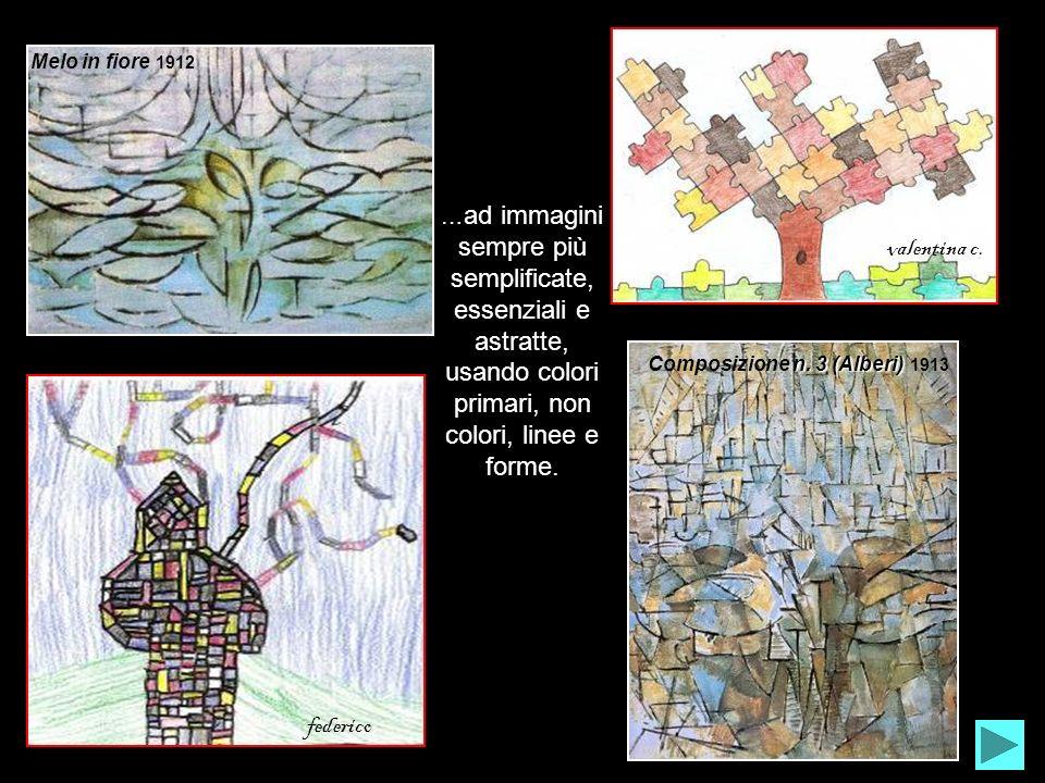 Melo in fiore 1912 n. 3 (Alberi) Composizione n. 3 (Alberi) 1913 … ad immagini sempre più semplificate, essenziali e astratte, usando colori primari,