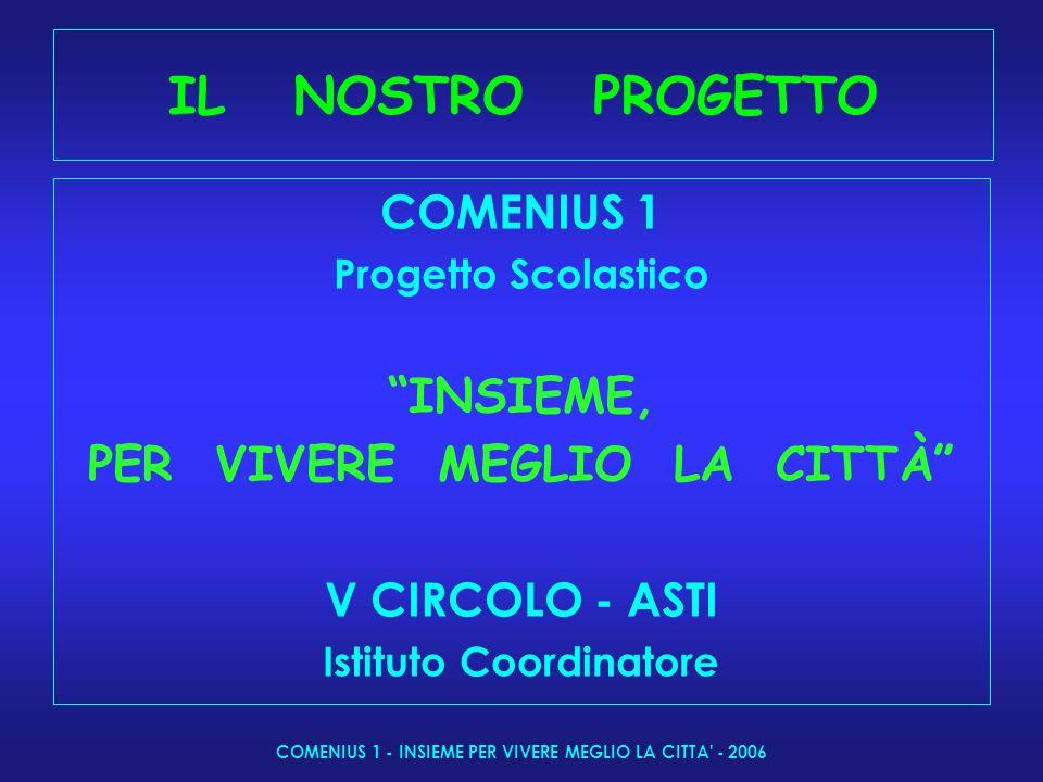 COMENIUS 1 - INSIEME PER VIVERE MEGLIO LA CITTA - 2006 IL NOSTRO PROGETTO COMENIUS 1 Progetto Scolastico INSIEME, PER VIVERE MEGLIO LA CITTÀ V CIRCOLO - ASTI Istituto Coordinatore
