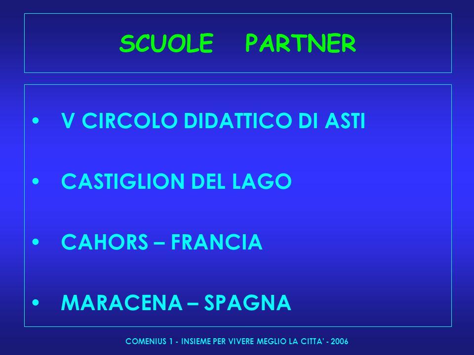 COMENIUS 1 - INSIEME PER VIVERE MEGLIO LA CITTA - 2006 SCUOLE PARTNER V CIRCOLO DIDATTICO DI ASTI CASTIGLION DEL LAGO CAHORS – FRANCIA MARACENA – SPAGNA