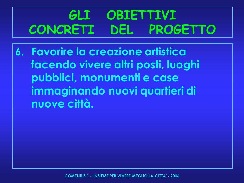 COMENIUS 1 - INSIEME PER VIVERE MEGLIO LA CITTA - 2006 I CONTENUTI 1 anno: La città come la vedo(2006- 07 Il paesaggio urbano a confronto con la storia della città, i miti fondatori.